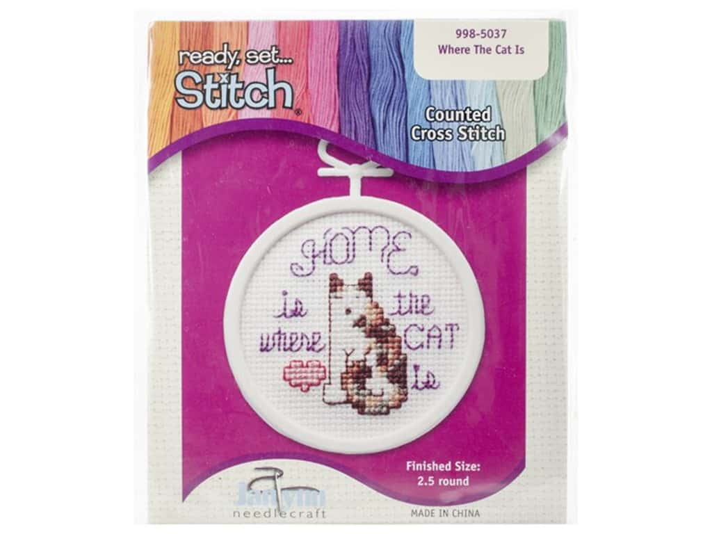 Janlynn Kid Stitch Cross Stitch Kit 2 1/2 in. Where The Cat Is 998-5037