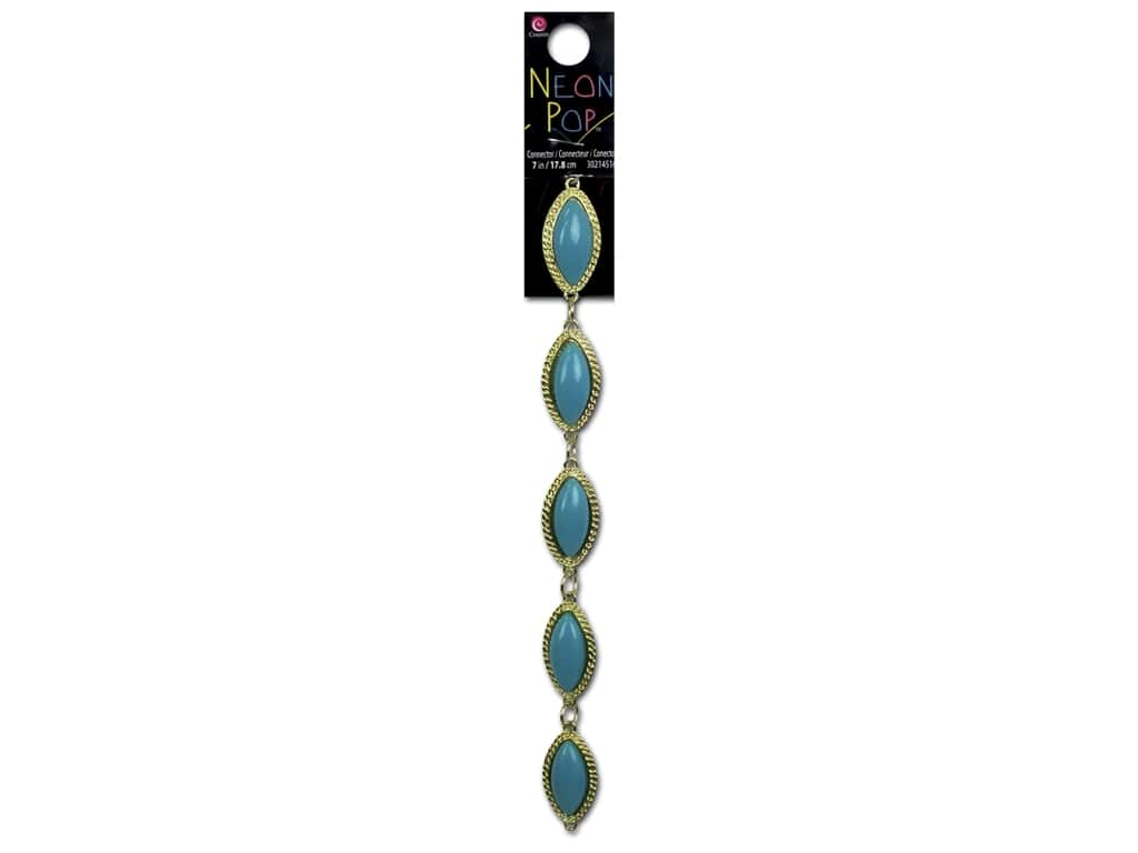 Cousin Neon Pop Collection Connector Oval Turquoise/Gold