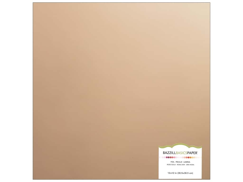 Bazzill 12 x 12 in. Foil Cardstock Rose Gold 341098