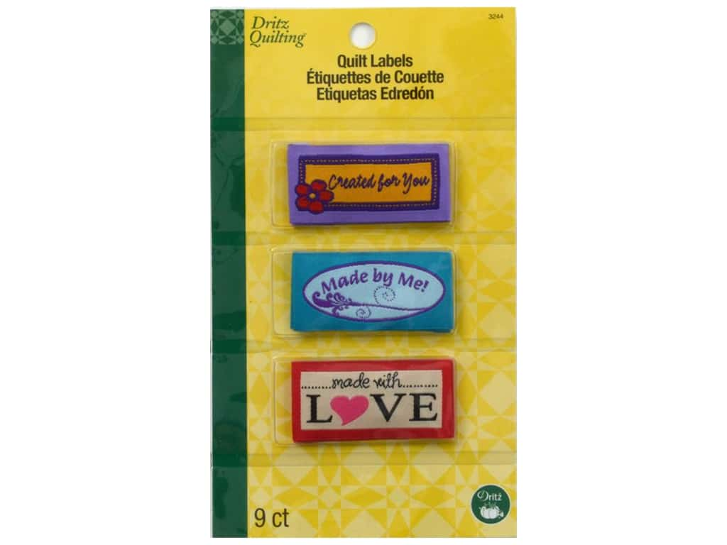 Dritz Sew In Quilting Label Made Assorted 9 pc. 3244