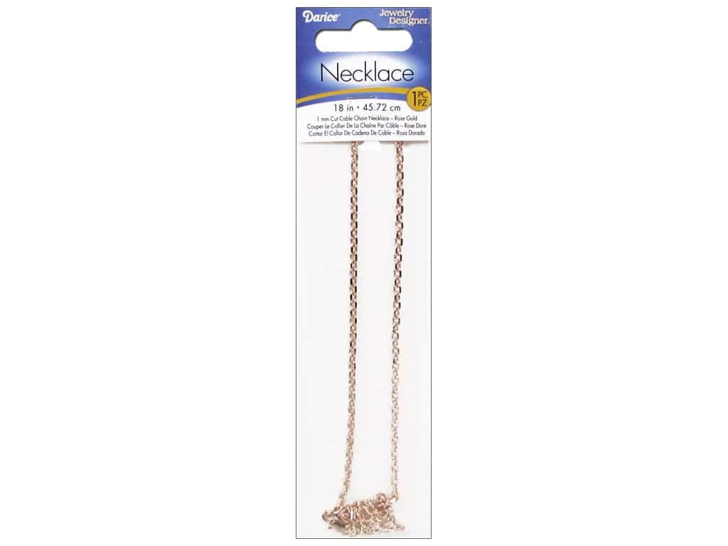 "Darice Jewelry Designer Necklace Chain 18"" Cable 1mm Rose Gold 1pc RG1027"