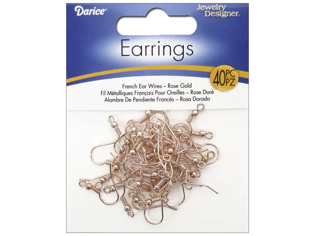 Darice Jewelry Designer Earring French Earwire Rose Gold 40pc RG1000