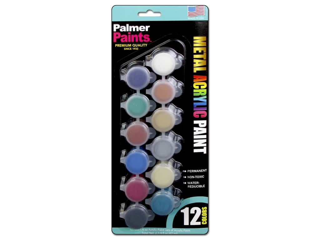 Palmer Acrylic Paint Pot Set - 12 Color Metals 179406