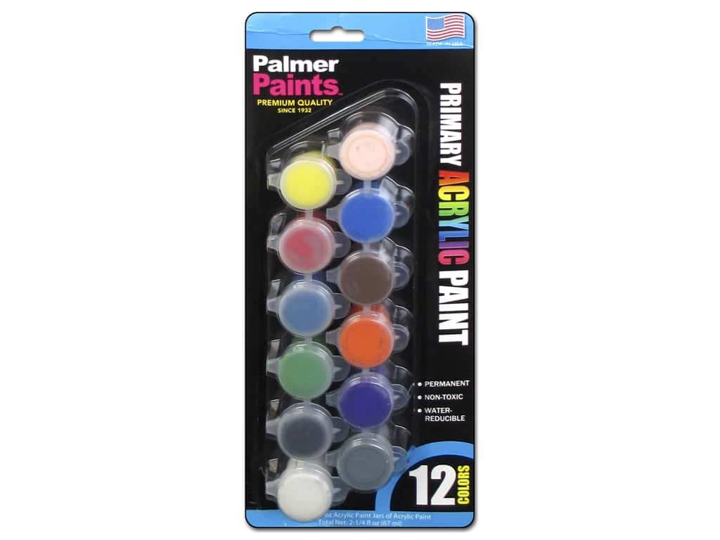 Palmer Acrylic Paint Pot Set - 12 Color Primary 16663-6