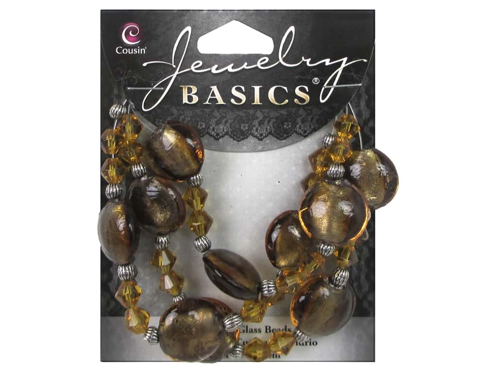 Cousin Basics Glass and Metal Beads 15 mm Bicone Round Dark Topaz 34716019