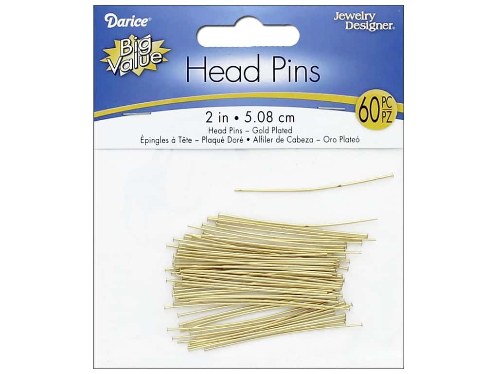 Darice Jewelry Designer Head Pins 2 in. Gold Plated Brass 60 pc. 1880-54