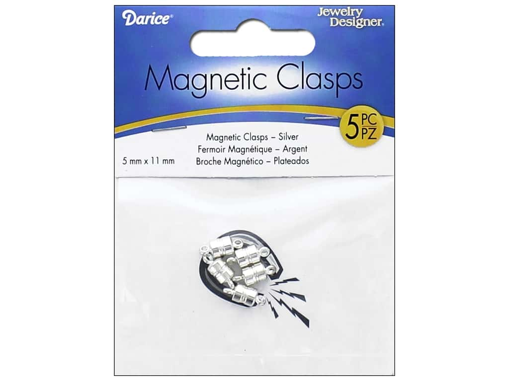 Darice Jewelry Designer Magnetic Clasps 5 x 11 mm Silver 5 pc. 1968-47