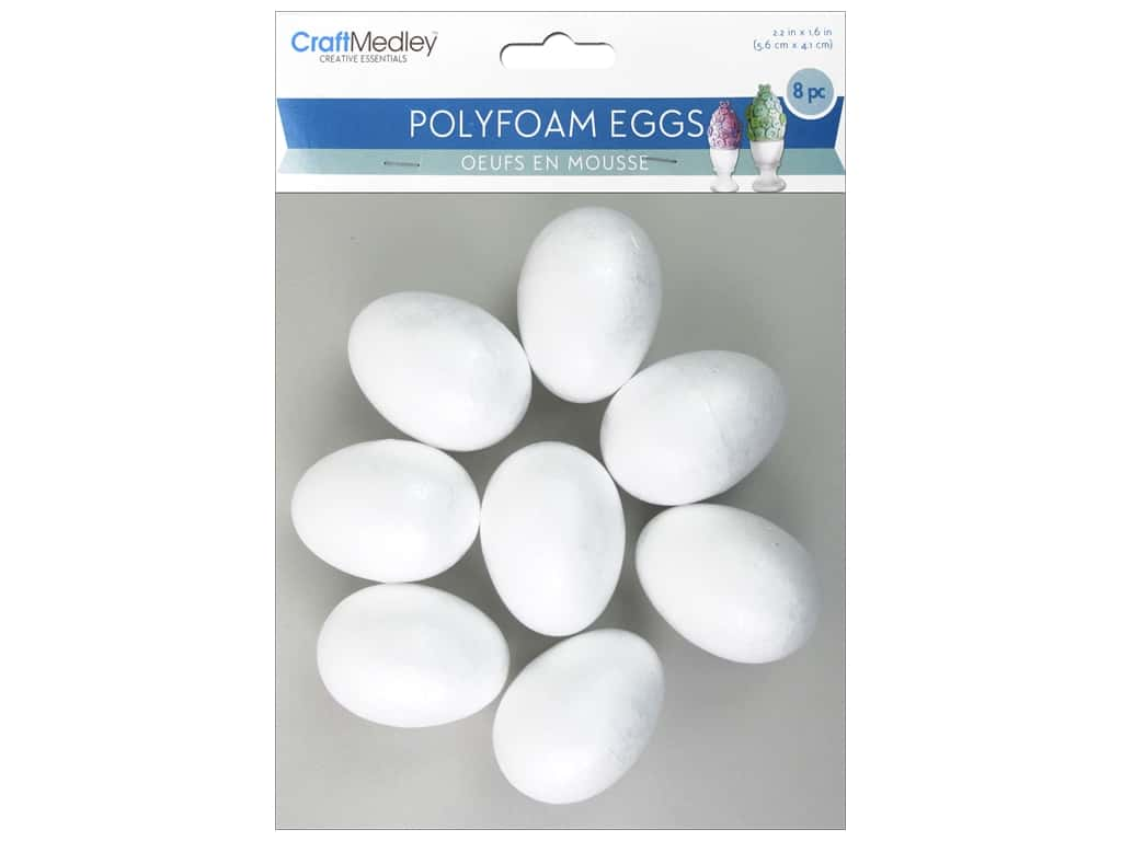 "Multicraft Polyfoam Eggs 2.2""x 1.6"" 8pc"