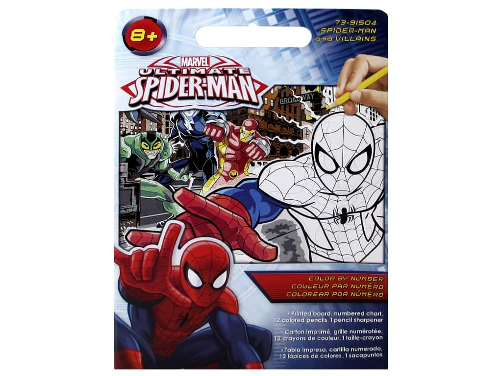 """Paintworks Color By Number 9""""x 12"""" Spideman & Villains"""