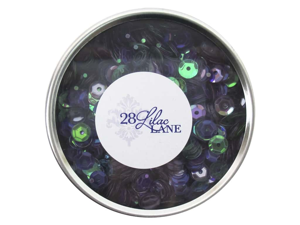 Buttons Galore 28 Lilac Lane Sequin Tin Bold & Bright LL304