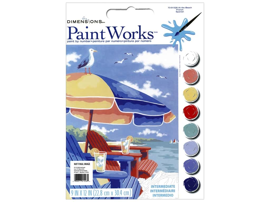 """Paintworks Paint By Number 9""""x 12"""" At The Beach"""