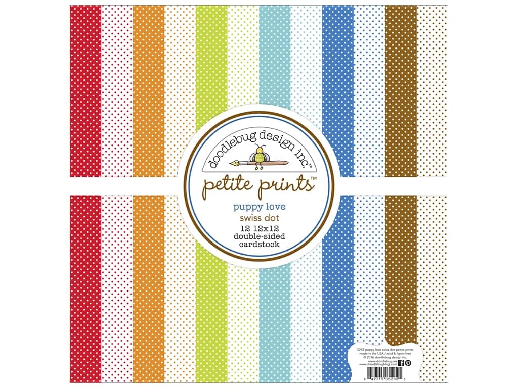 Doodlebug 12 x 12 in. Paper Pack Puppy Love Swiss Dot 5292
