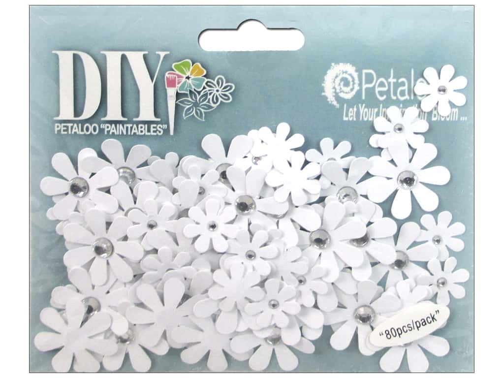 Petaloo DIY Paintables Florettes Jeweled Crystal White