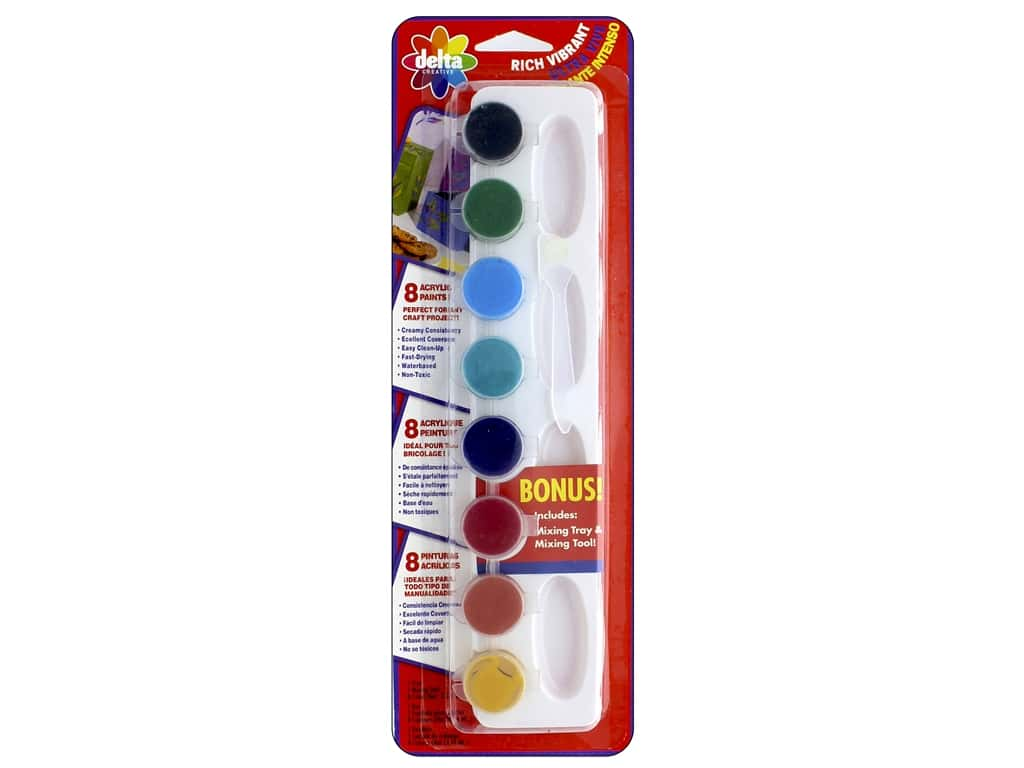 Delta Acrylic Paint Pot Set Vibrant Colors - 8 Colors 029340056M