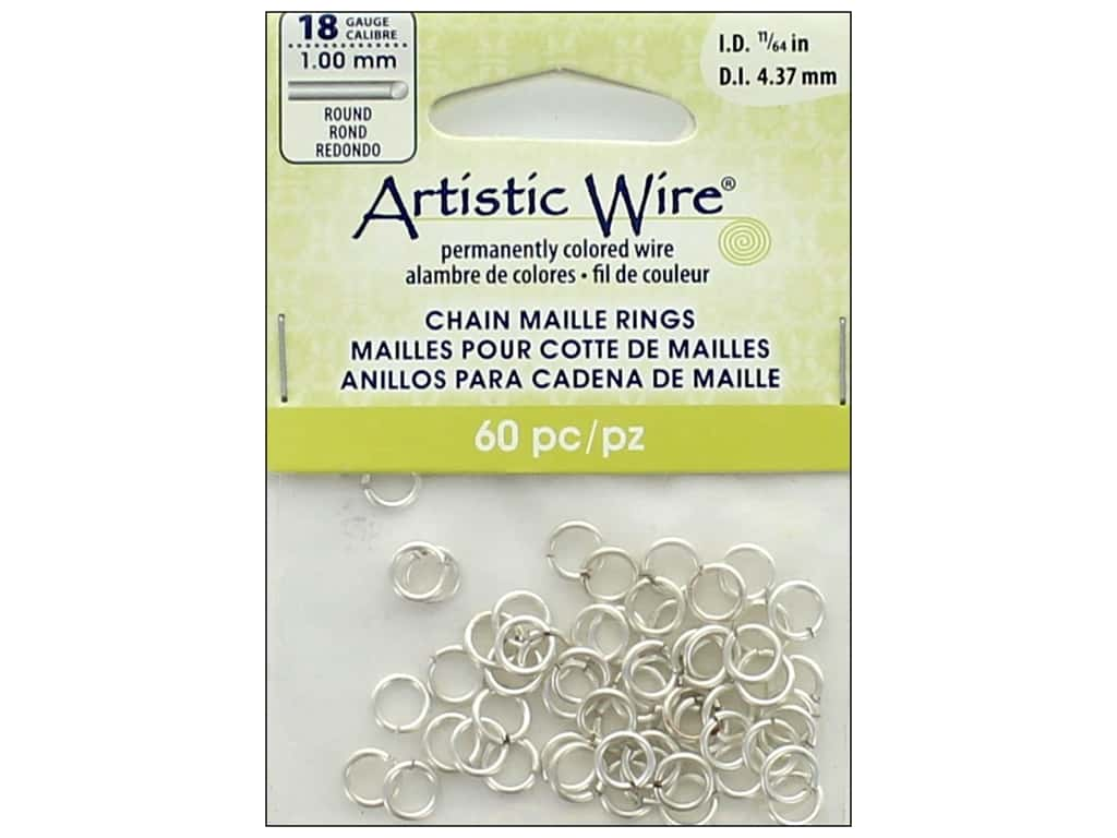 Artistic Wire Chain Maille Jump Rings 18 ga. 11/64 in. Silver 60 pc. A314-18S-10-07
