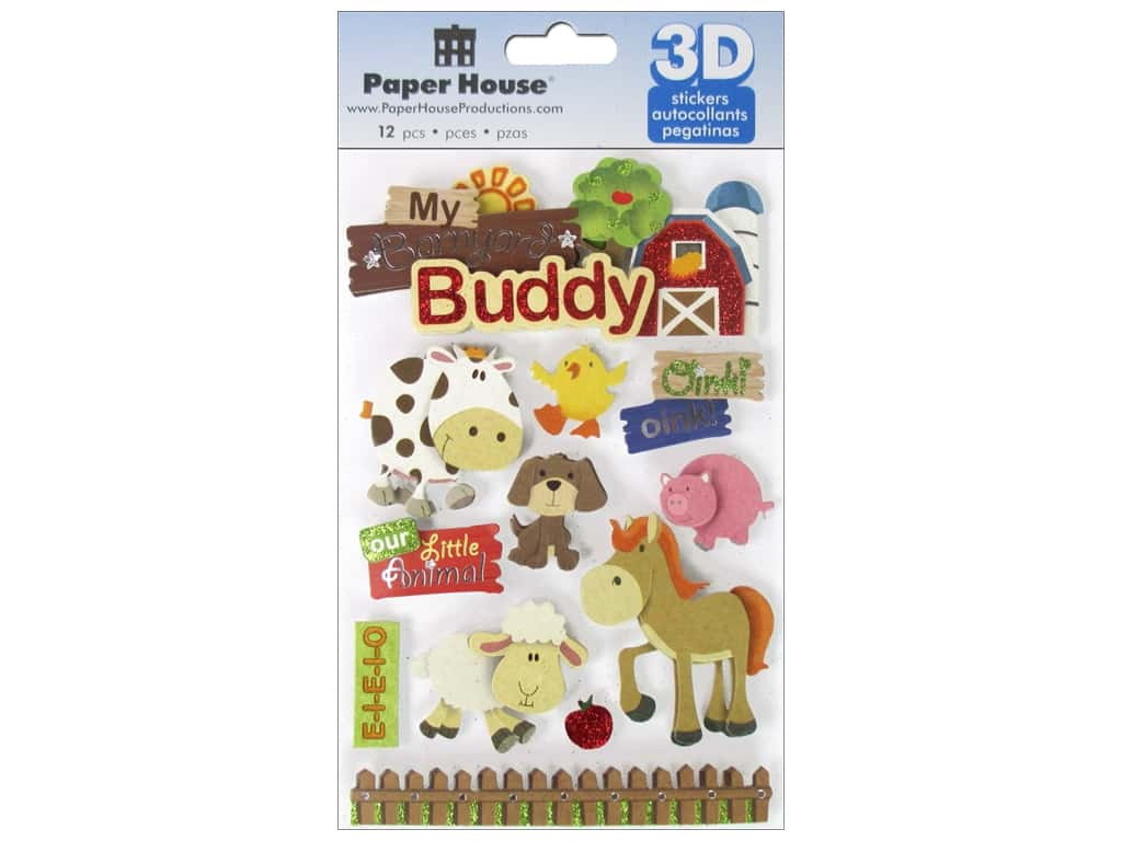 Paper House Sticker 3D Barnyard Buddy