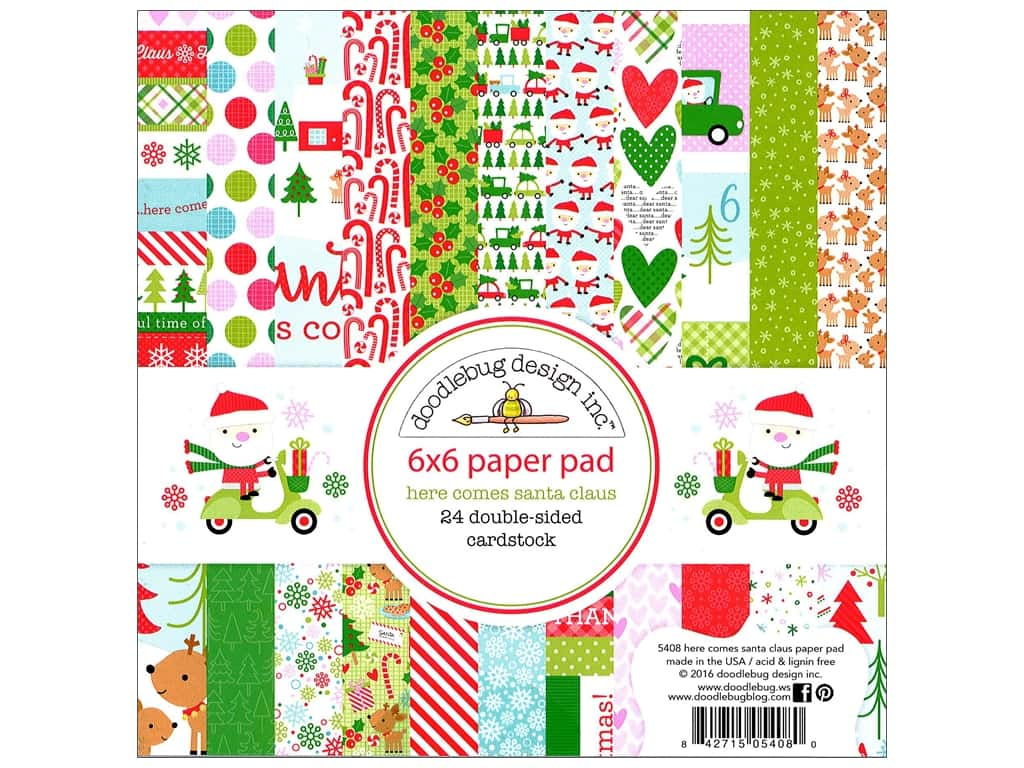 Doodlebug 6 x 6 in. Paper Pad Here Comes Santa Claus 5408