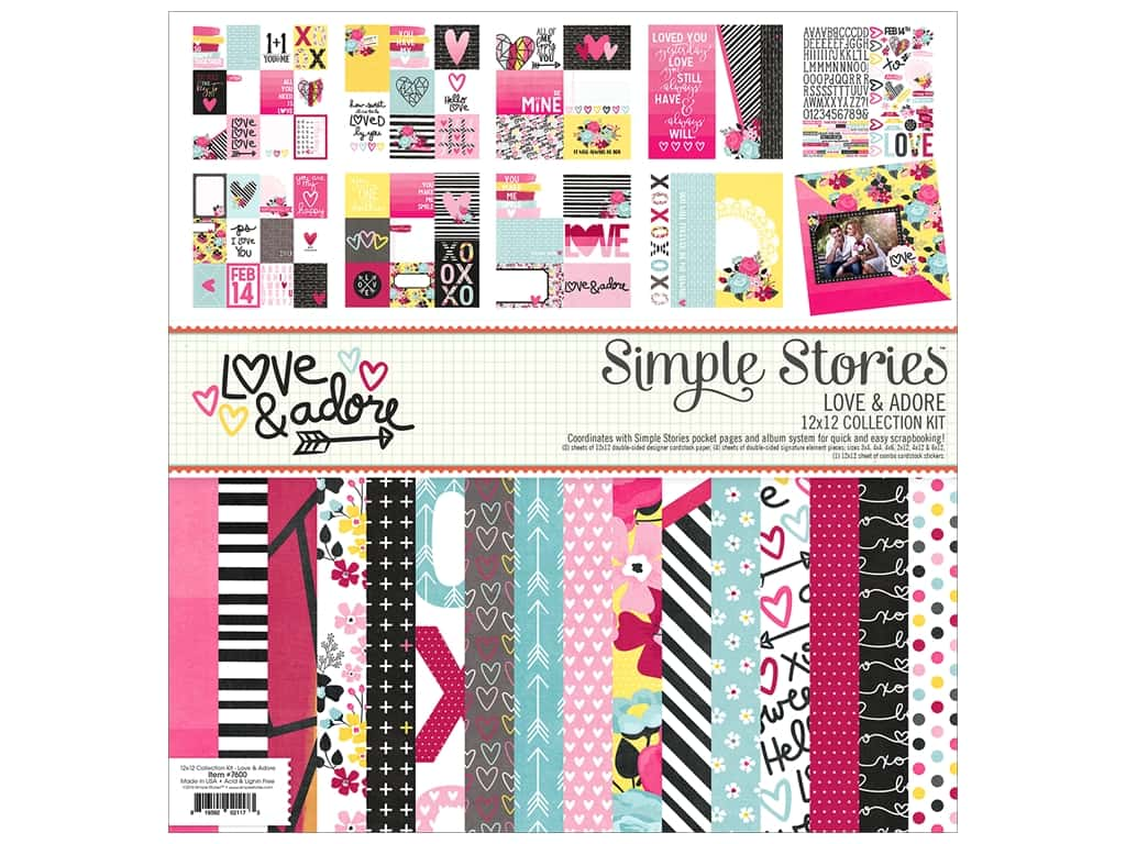 """Simple Stories Collection Love & Adore Collection Kit 12""""x 12"""