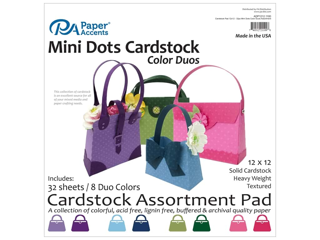 Paper Accents 12 x 12 in. Cardstock Pad 32 pc. Mini Dots Color Duos