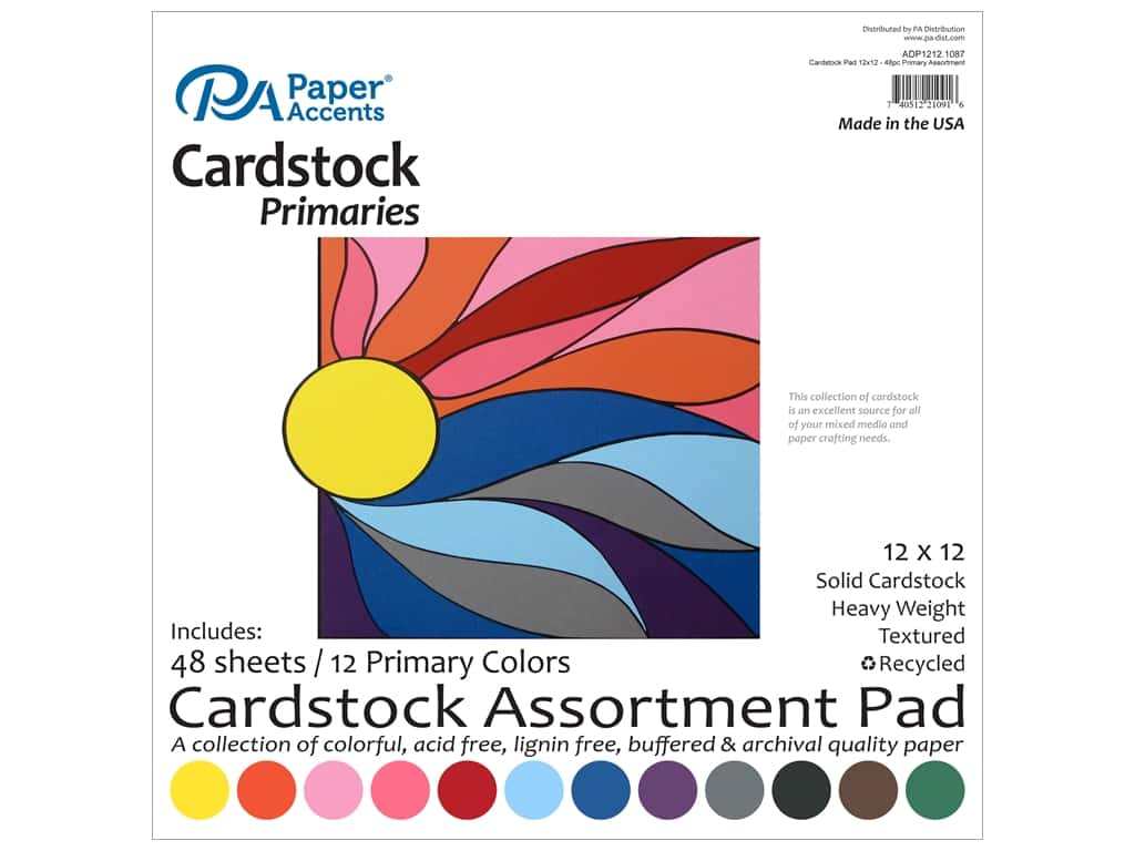 Paper Accents 12 x 12 in. Cardstock Pad 48 pc. Primary ADP1212.1087