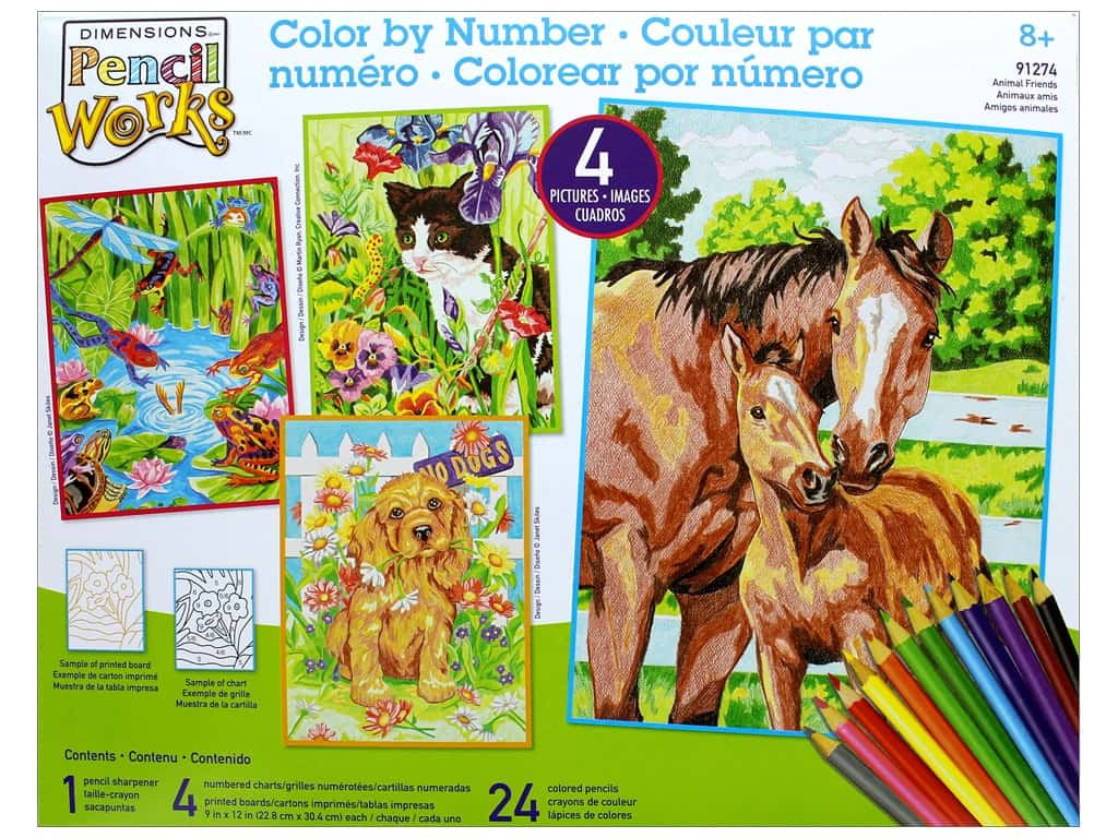 "Dimensions Color By Number 9""x 12"" Animal Friends"