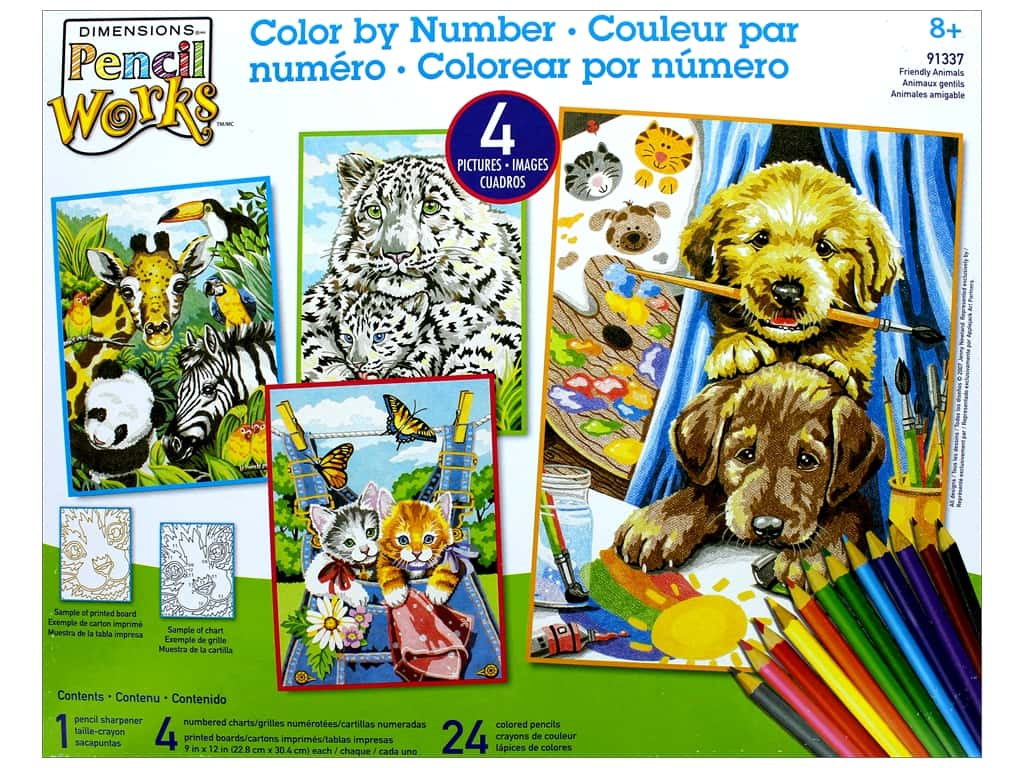 "Dimensions Color By Number 9""x 12"" Friendly Animals"
