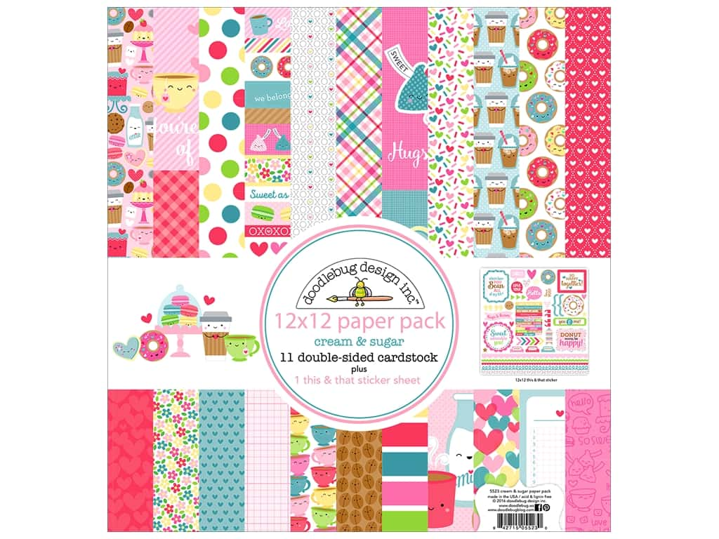 "Doodlebug Collection Cream & Sugar Paper Pack 12""x 12"