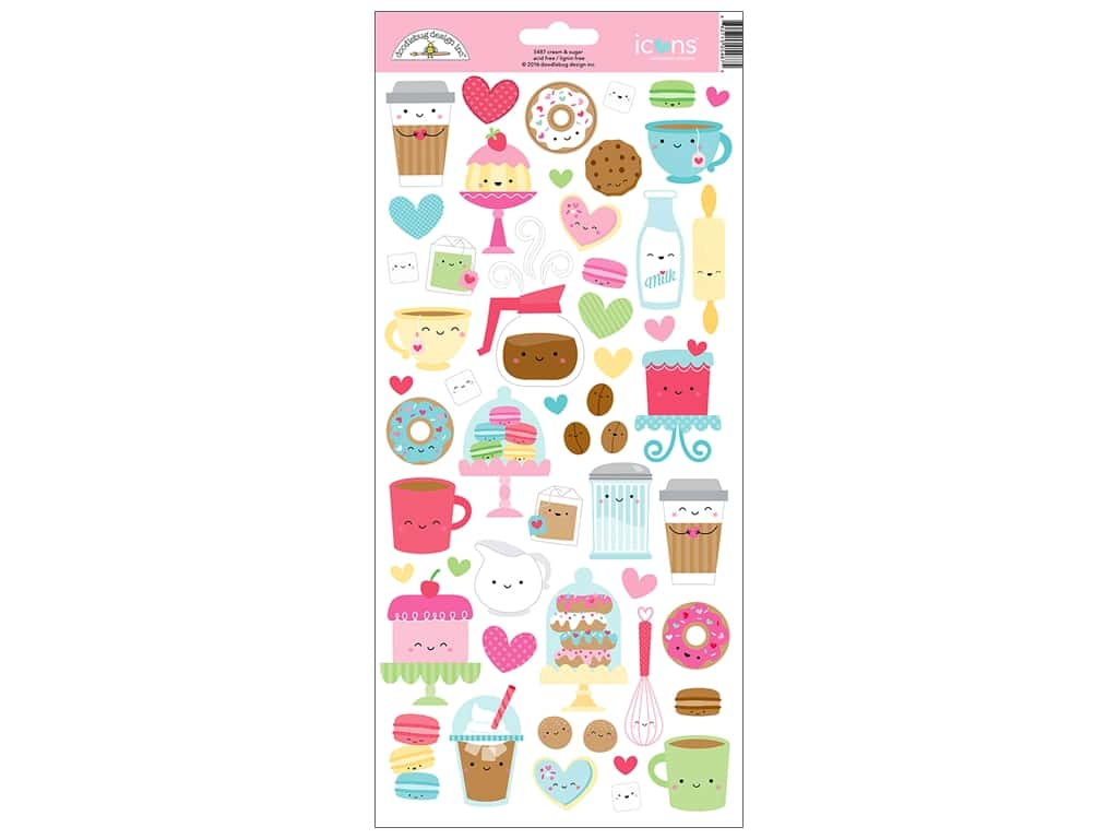 Doodlebug Collection Cream & Sugar Sticker Icons
