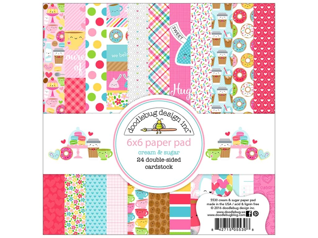 "Doodlebug Collection Cream & Sugar Paper Pad 6""x 6"