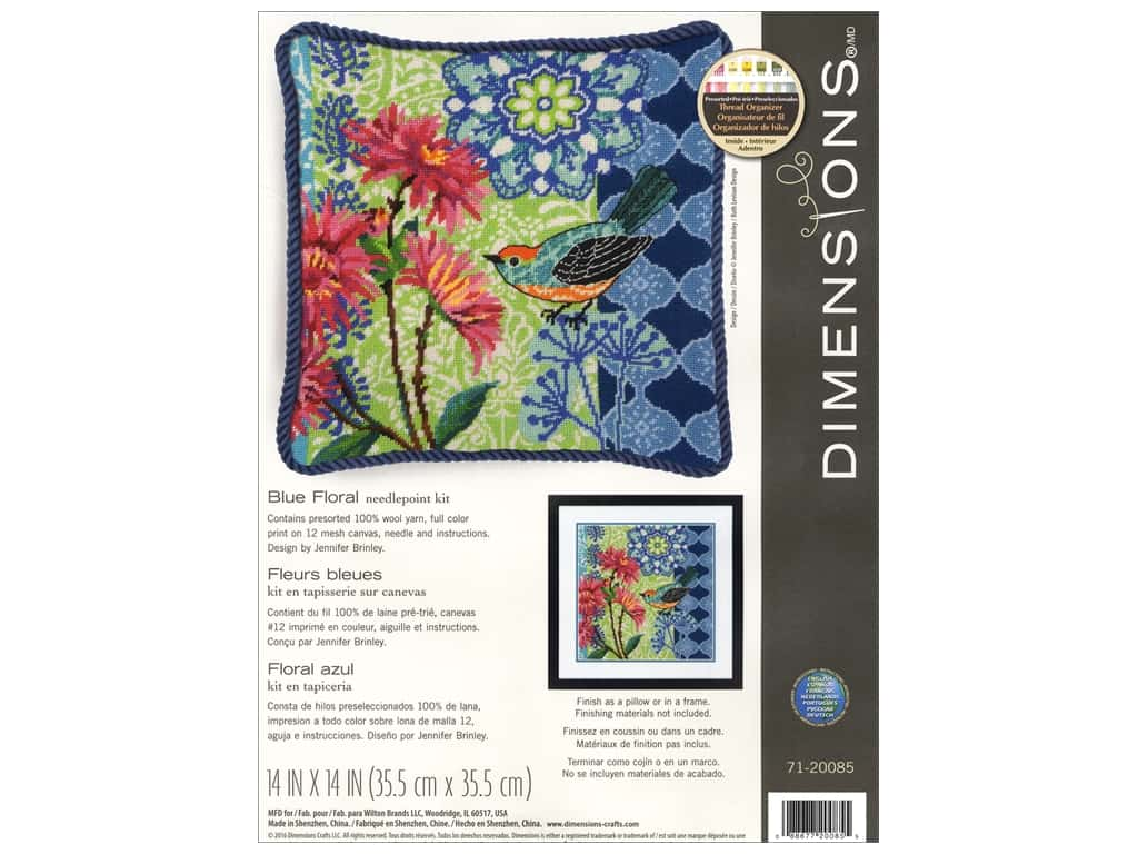 Dimensions Needlepoint Kit 14 in. x 14 in. Blue Floral