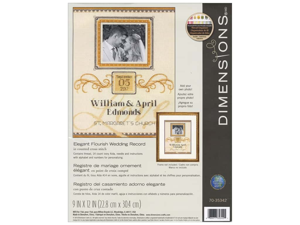 Dimensions Cross Stitch Kit Elegant Flourish Wedding Record