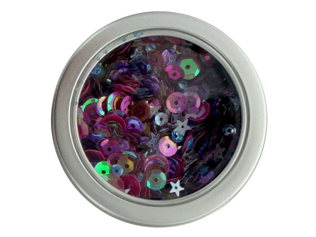 Buttons Galore 28 Lilac Lane Sequin Tin Mixed Berry LL313