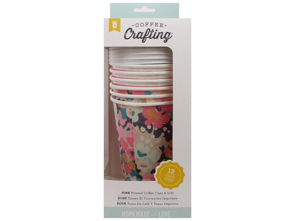 American Crafts Collection Homemade With Love Coffee Cups Pink