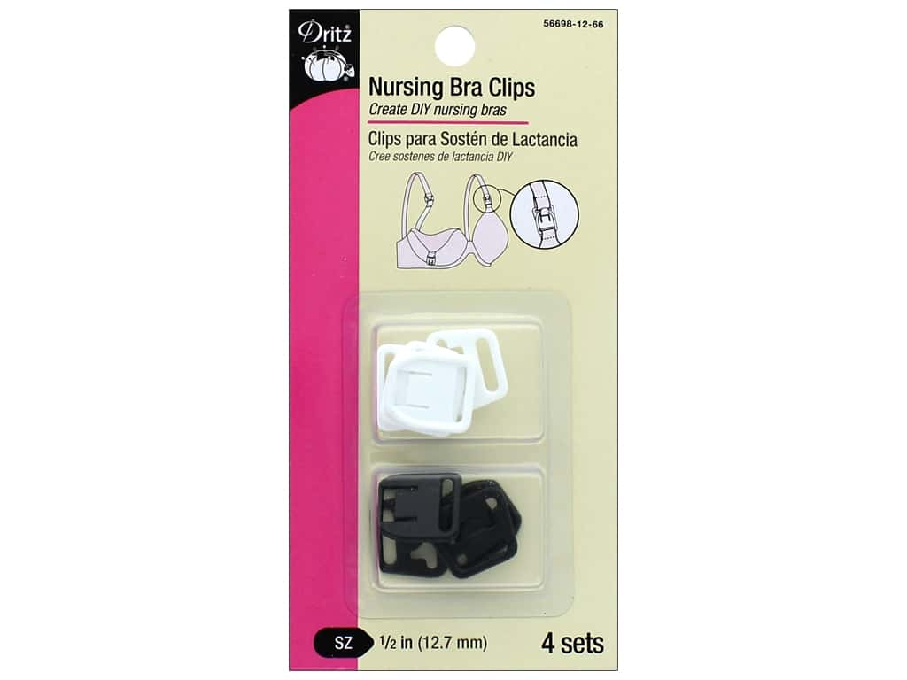Dritz Nursing Bra Clips 1/2 in. 4 pc. Black & White 56698-12-66