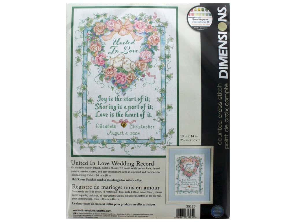 "Dimensions Cross Stitch Kit 10""x 14"" United In Love Wedding Record"