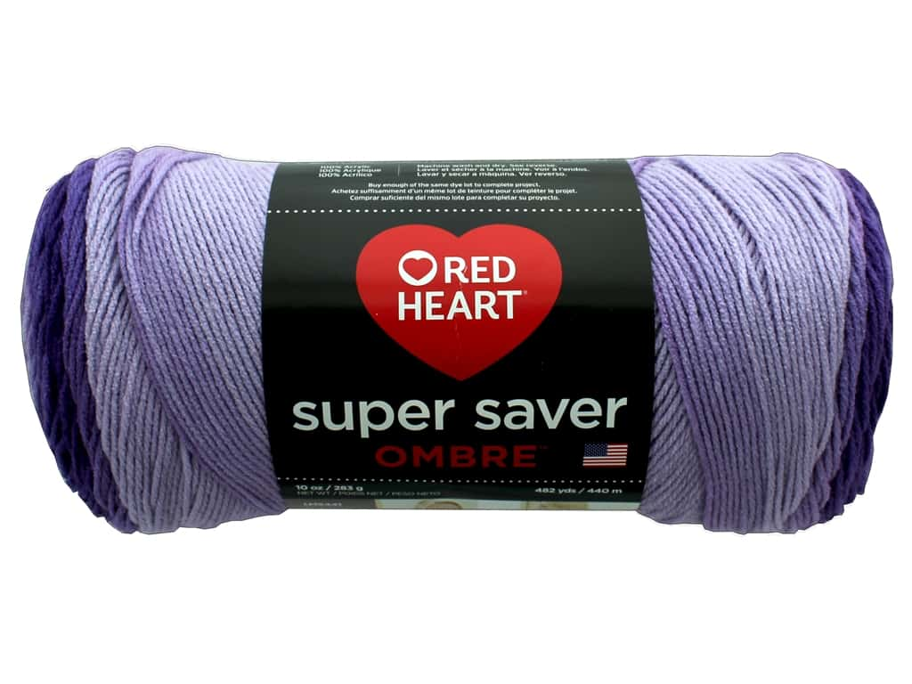 Red Heart Super Saver Ombre Yarn 482 yd. #3969 Violet E305_3969