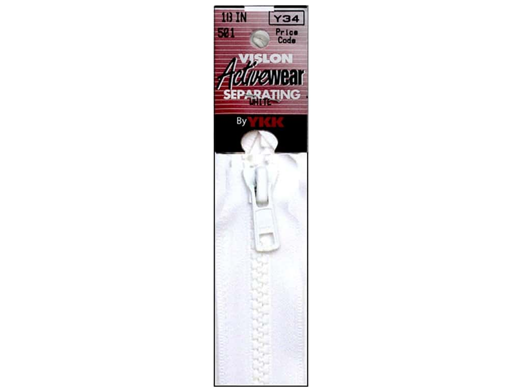 YKK Vislon Separating Zipper 18 in. White VISLON.18.501