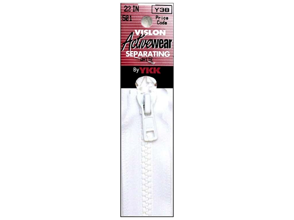 YKK Vislon Separating Zipper 22 in. White VISLON.22.501