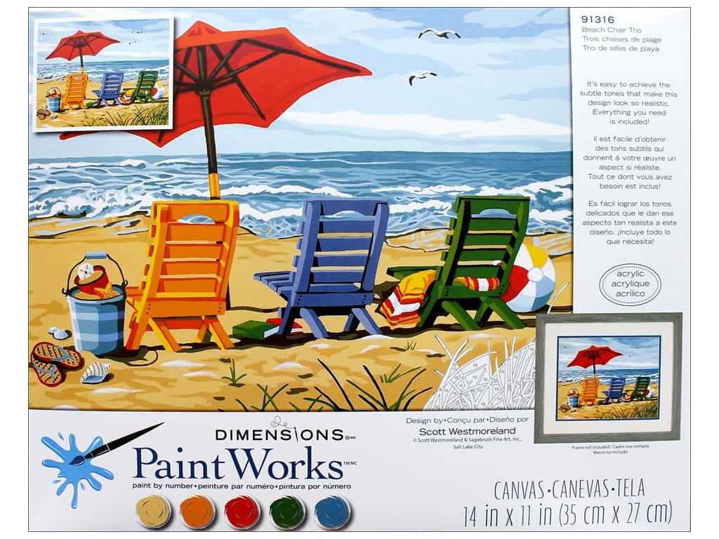 Dimensions PaintWorks Paint By Number 14 in. x 11 in. Beach Chair Trio